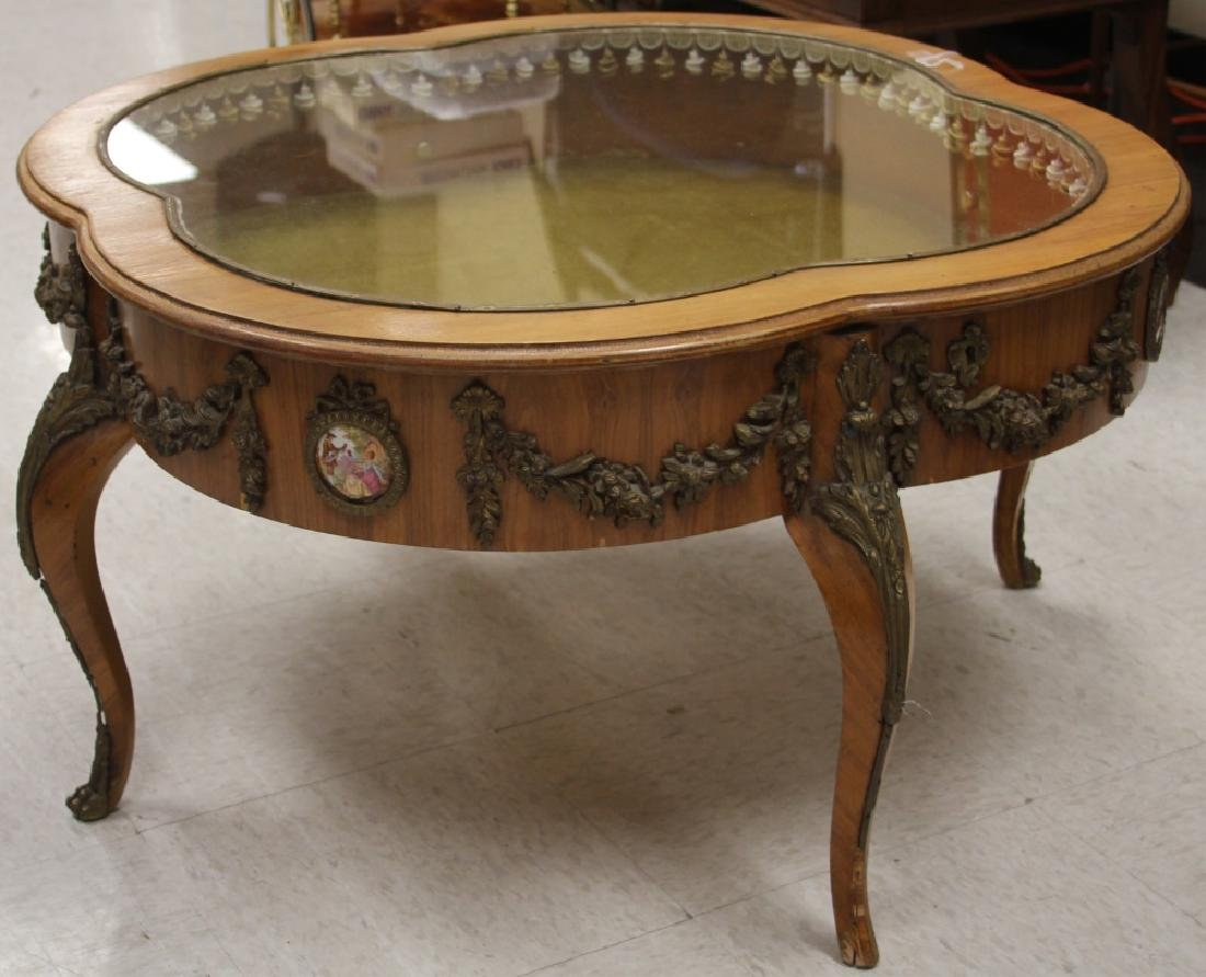 FRENCH GLASS TOP CURIO COFFEE TABLE - 2
