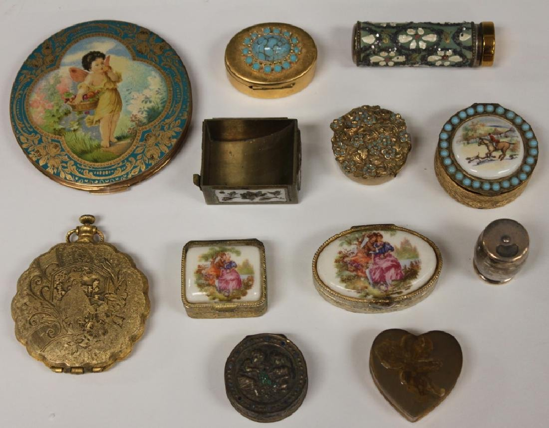 LOT OF (12) VINTAGE COMPACTS & TRINKET/PILL BOXES