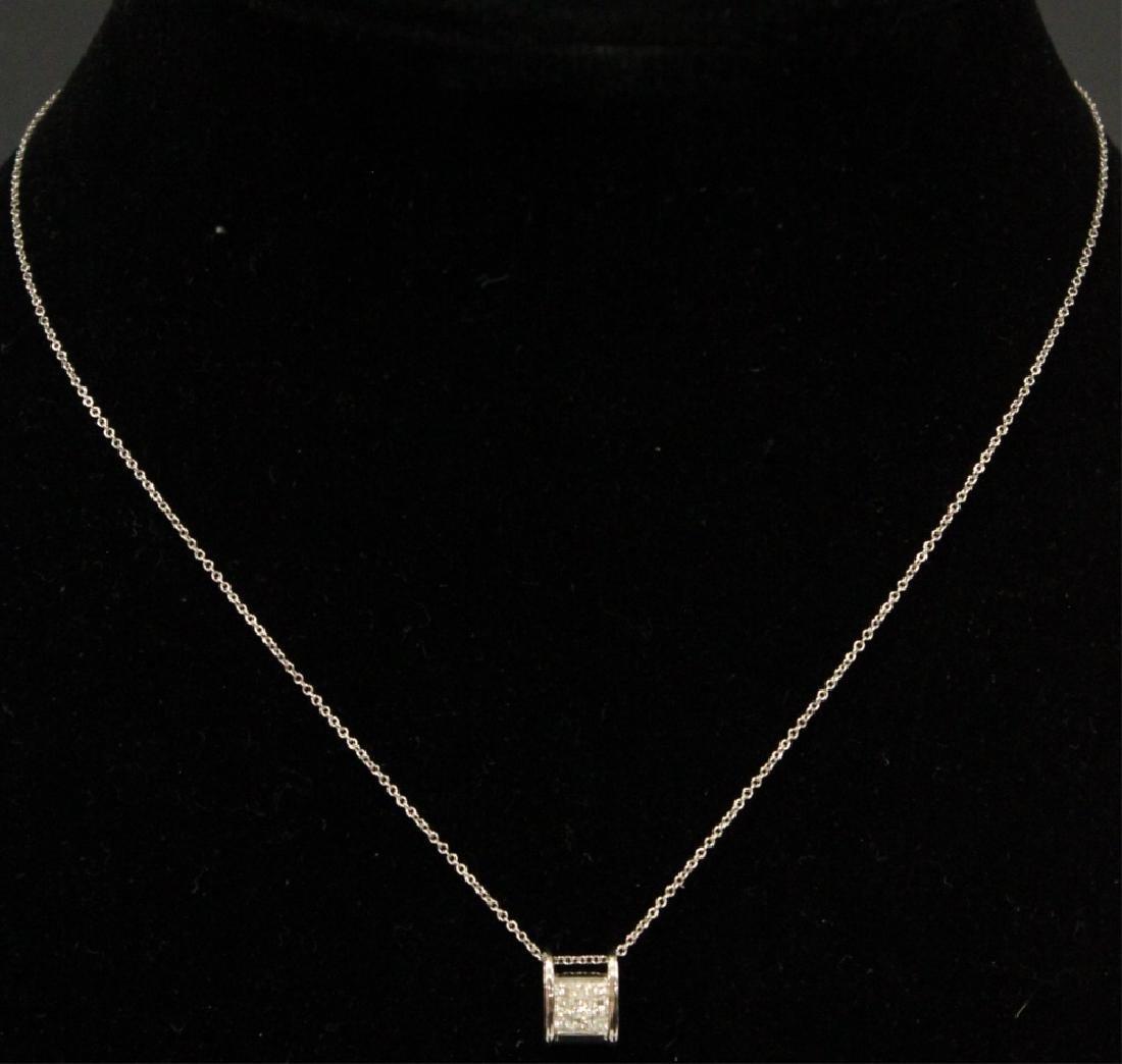 DIAMOND 18KT WHITE GOLD PENDANT & 14KT CHAIN