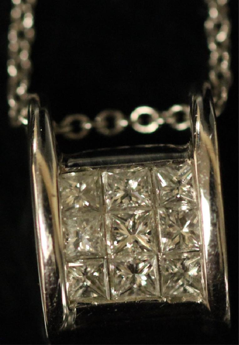 DIAMOND 18KT WHITE GOLD PENDANT & 14KT CHAIN - 2