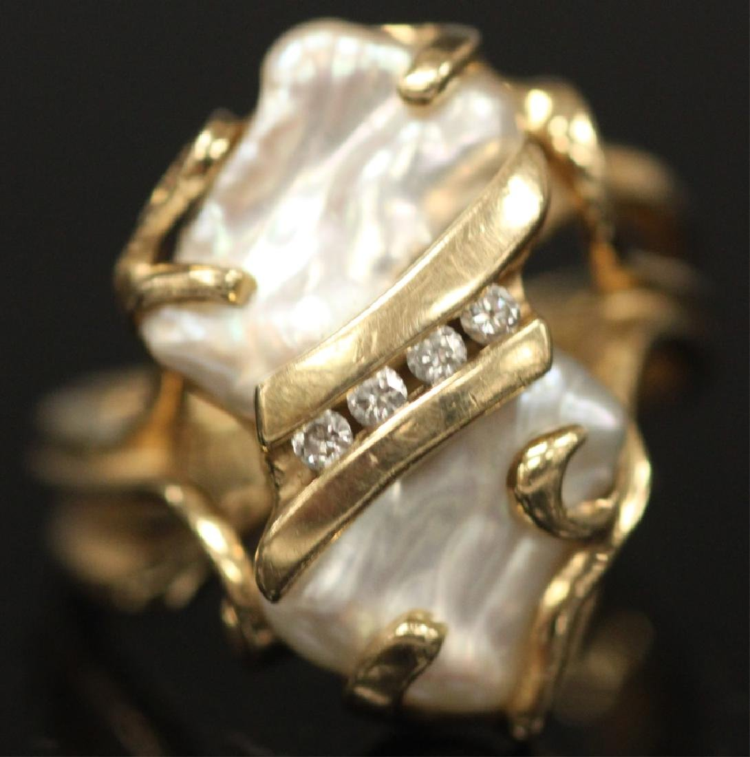 PEARL & DIAMOND 14KT YELLOW GOLD RING, 8.3 GRAMS