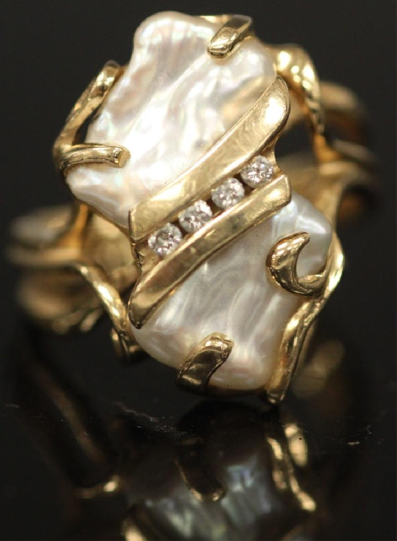 PEARL & DIAMOND 14KT YELLOW GOLD RING, 8.3 GRAMS - 2