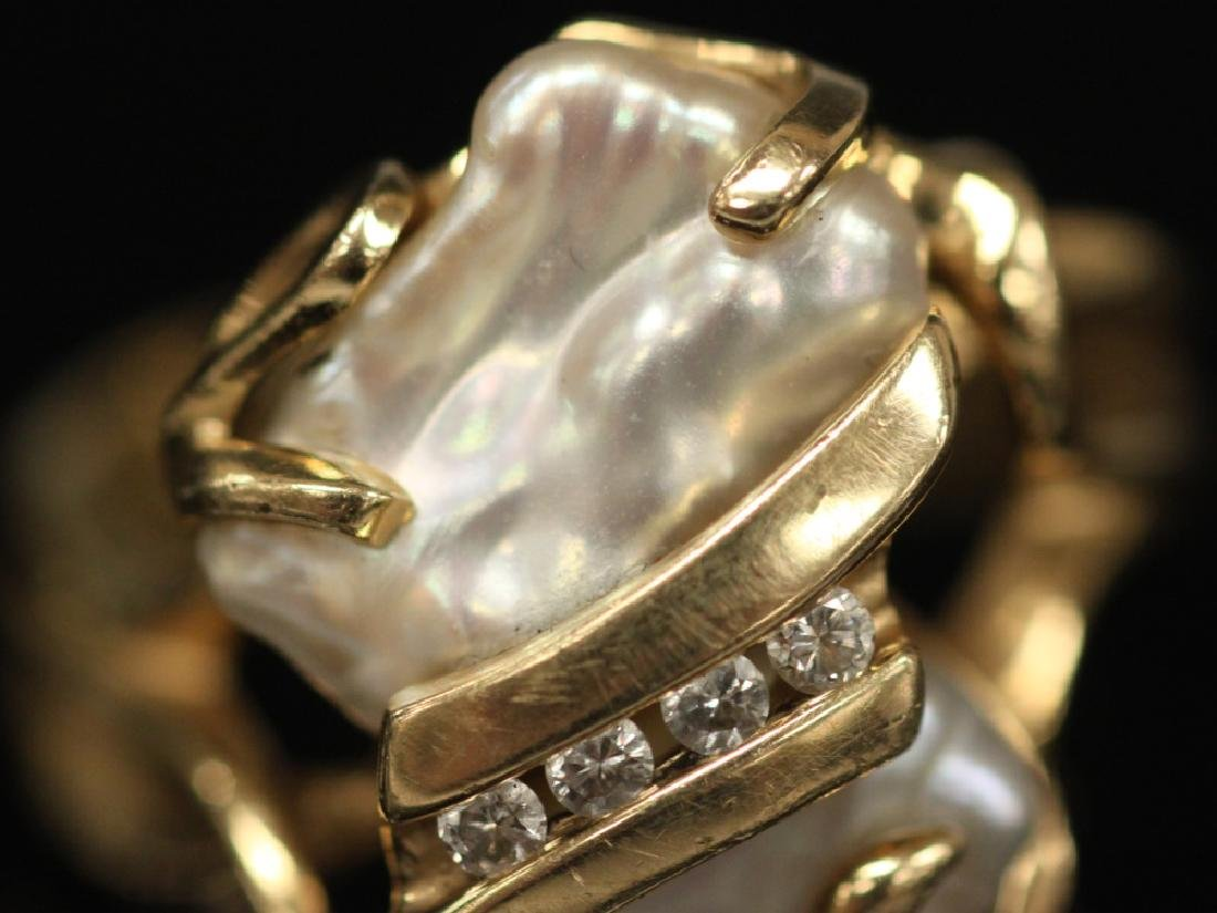 PEARL & DIAMOND 14KT YELLOW GOLD RING, 8.3 GRAMS - 3