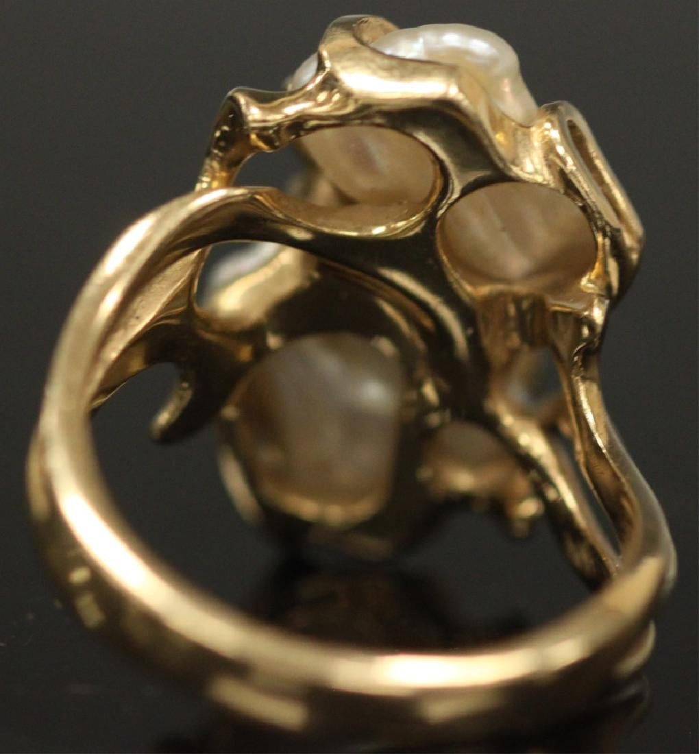 PEARL & DIAMOND 14KT YELLOW GOLD RING, 8.3 GRAMS - 7