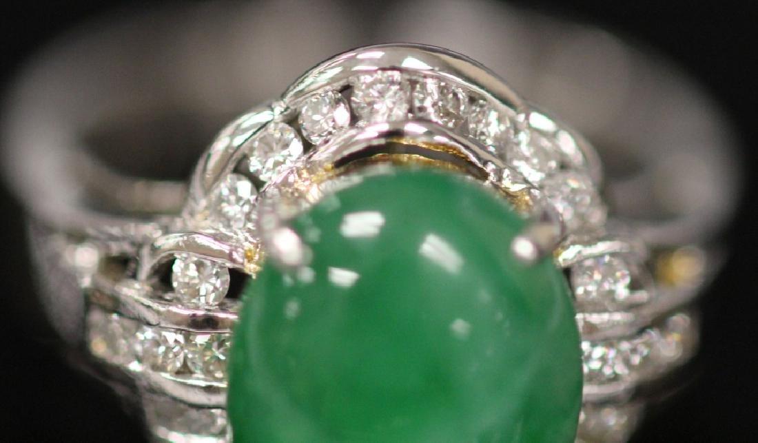 JADE & DIAMOND 18KT WHITE GOLD RING - 3