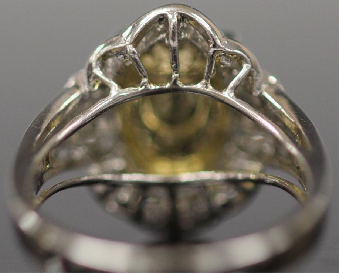 JADE & DIAMOND 18KT WHITE GOLD RING - 4