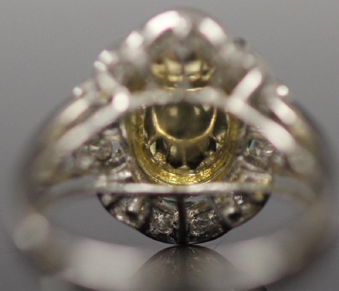 JADE & DIAMOND 18KT WHITE GOLD RING - 5
