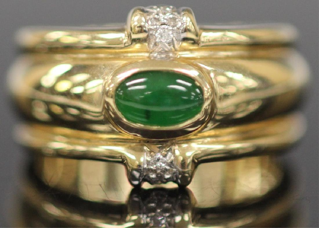 JADE & DIAMOND 14KT YELLOW GOLD RING, W/ COA