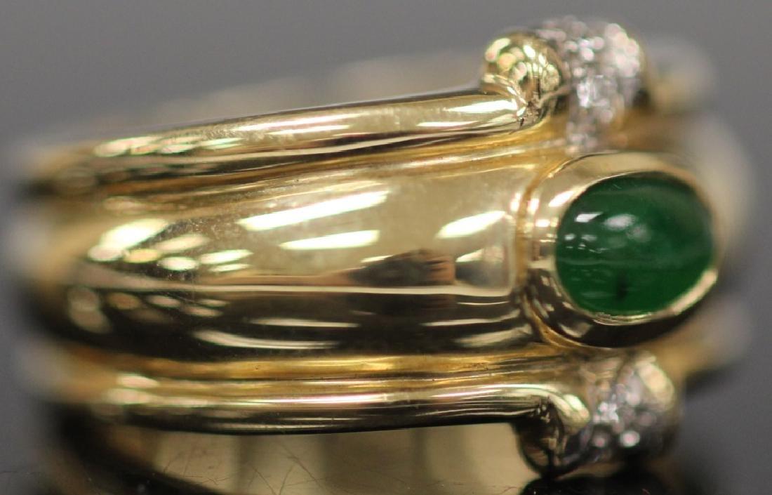 JADE & DIAMOND 14KT YELLOW GOLD RING, W/ COA - 3