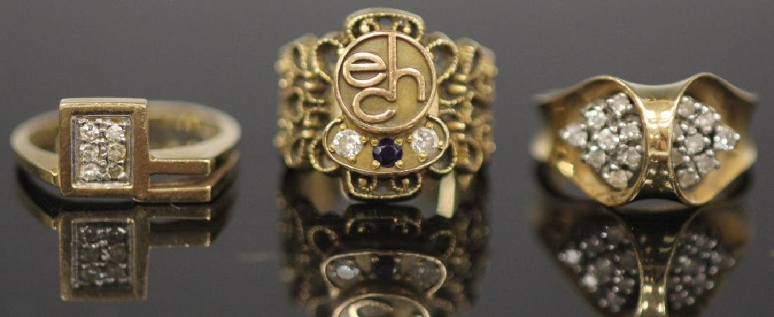 LOT OF (3) 14KT GOLD RINGS INCL. DIAMOND, 18.9 G
