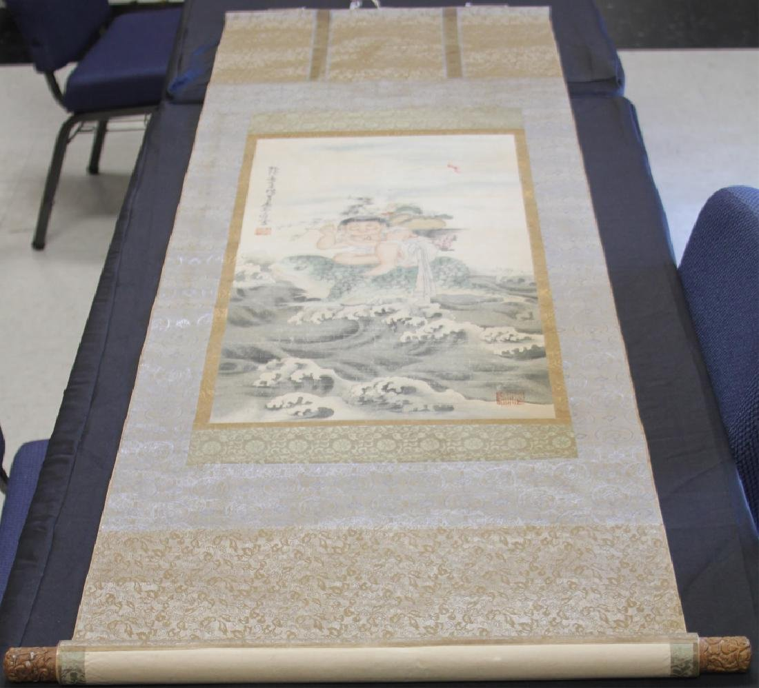CHINESE SCROLL PAINTING OF BOY