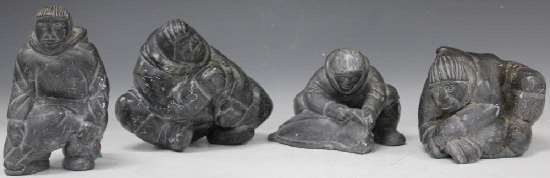 LOT (4) VINTAGE ESKIMO SOAPSTONE  CARVED FIGURES