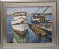 OLEG ULITSKIY B 1965 OIL ON CANVAS OF BOATS