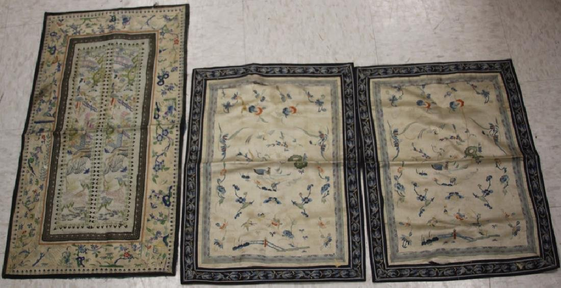 LOT OF (3) VINTAGE CHINESE EMBROIDERED PANELS