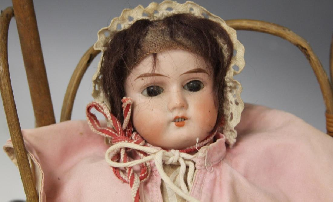 VINTAGE GERMAN PORCELAIN DOLL WITH WICKER BUGGY - 2
