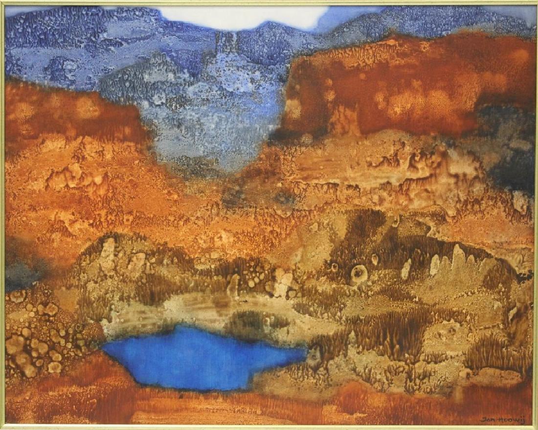 JAN HOOWIJ (1907-1987), ABSTRACT OIL ON BOARD - 2
