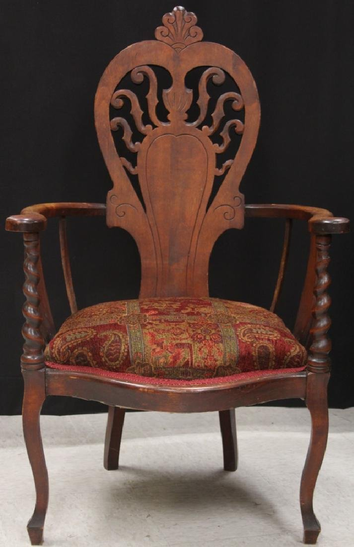 VICTORIAN ARM CHAIR WITH UPHOLSTERY