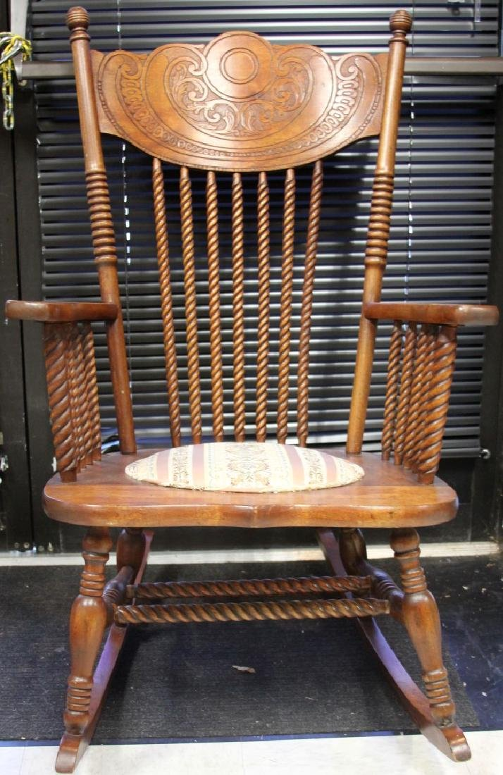 VICTORIAN WOODEN SPINDLE BACK ROCKING CHAIR