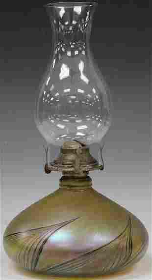 DORE ART GLASS BLOWN KEROSENE LAMP
