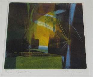 GAIL PERAZZINI MONOTYPE ON PAPER FRAMED