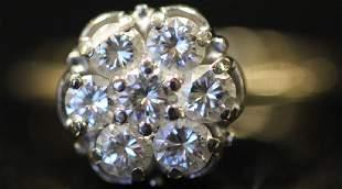 LADYS 7 DIAMOND 14KT GOLD RING 33 GRAMS