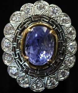 LADY'S BLUE SAPPHIRE & DIAMOND PLATINUM RING, GIA