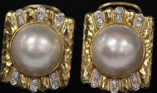 MAUBE PEARL DIAMOND 14KT GOLD EARRINGS