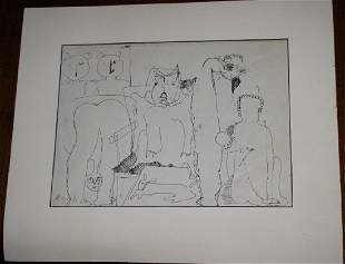 MOSHE GIVATI 19342012 INK ON PAPER OF ANIMALS