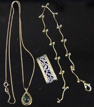 LOT OF 3 GOLD JEWELRY INCL 14KT