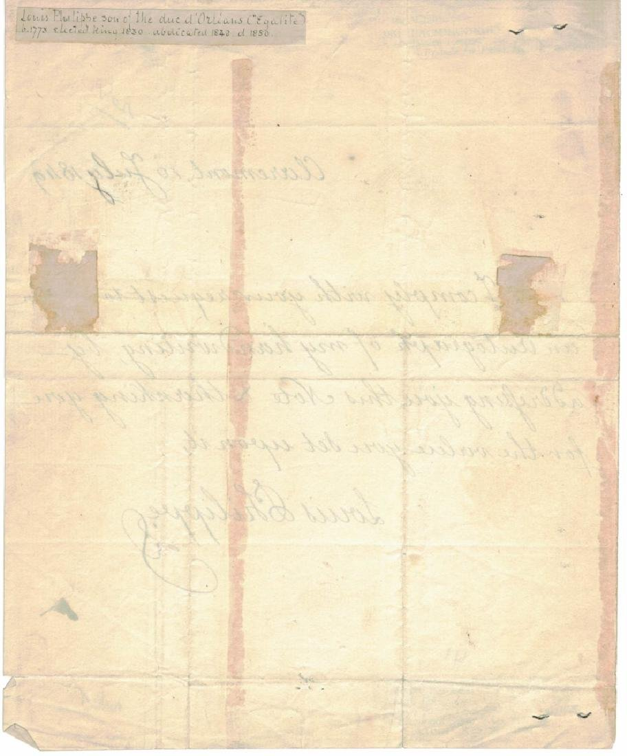 LOUIS PHILIPPE I, KING OF FRANCE, SIGNED LETTER - 2