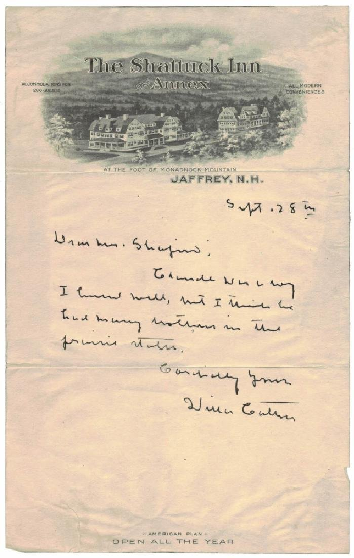 WILLA CATHER (1873-1947), SIGNED LETTER