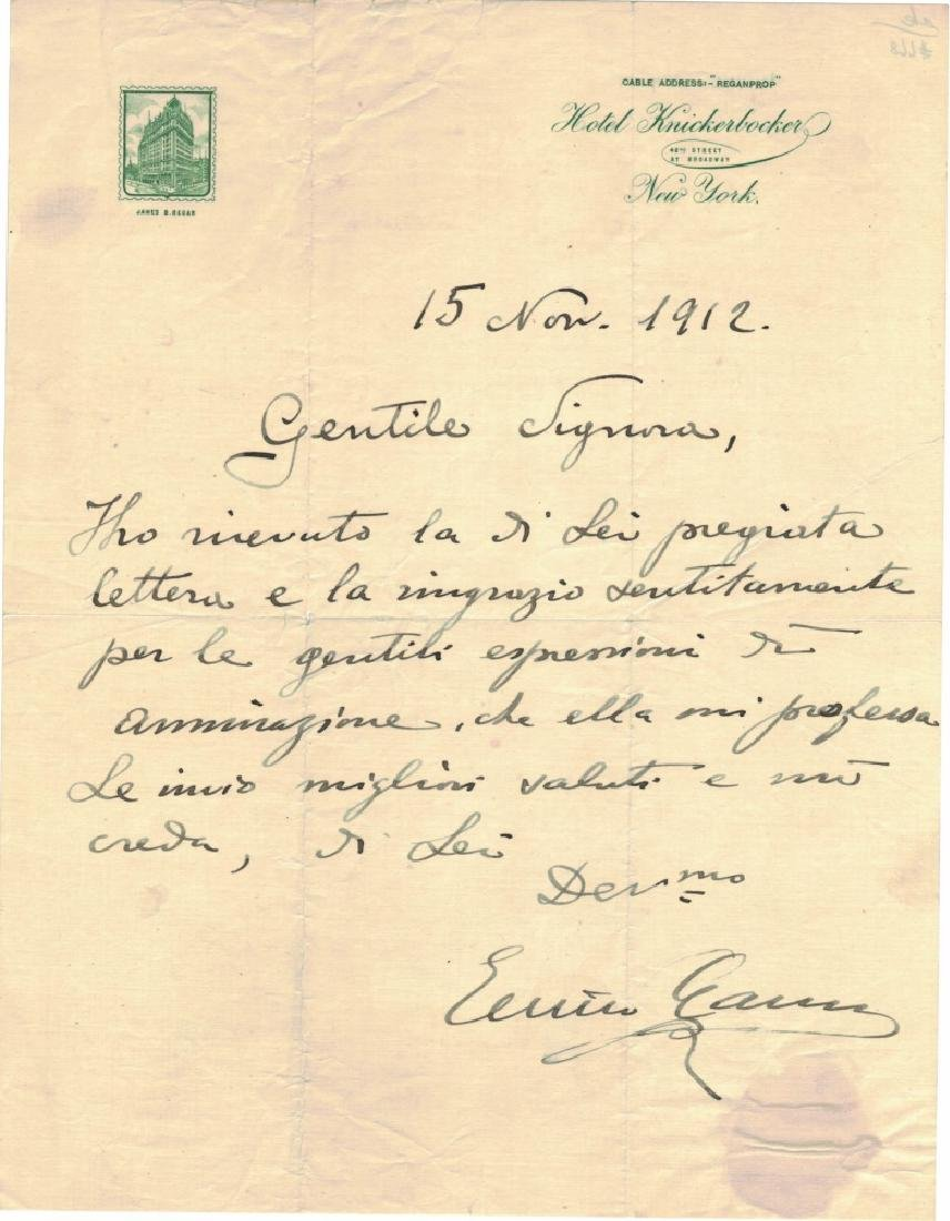 ENRICO CARUSO (1873-1921), SIGNED LETTER, 1912