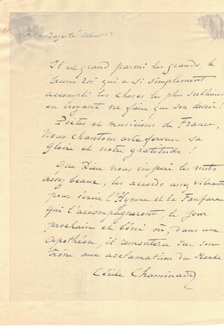 LOT OF (3) SIGNED LETTERS, INCL. CLARA SCHUMANN - 6