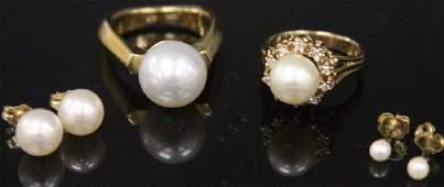 LOT OF (4) PEARL JEWLERY: RINGS & EARRINGS