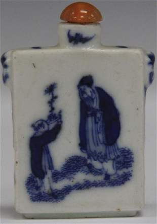 EARLY CHINESE BLUE WHITE PORCELAIN SNUFF BOTTLE