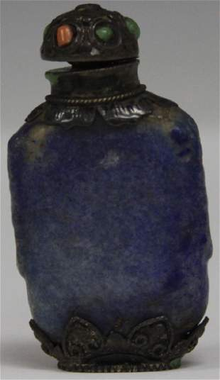 19TH C CHINESE CARVED LAPIS SNUFF BOTTLE