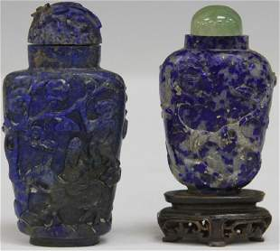 LOT OF 2 CHINESE CARVED LAPIS SNUFF BOTTLES