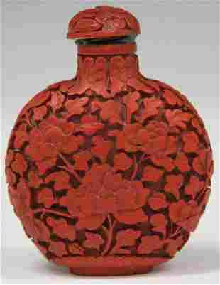 CHINESE CINNABAR CARVED SNUFF BOTTLE