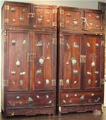 PAIR OF VINTAGE CHINESE CABINETS W/ JADE CARVINGS