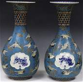 PAIR OF EARLY CLOISONNE & PORCELAIN VASES