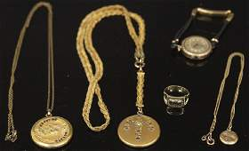 LOT OF (5) VINTAGE JEWLERY INCL. NECKLACES & WATCH