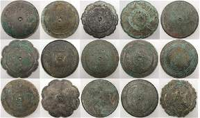 LOT OF 15 CHINESE SILVERED BRONZE MIRRORS