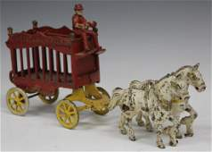 VINTAGE CAST IRON PAINTED CIRCUS CARRIAGE TOY