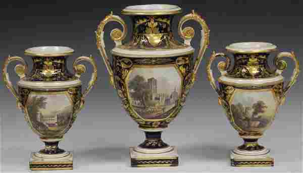 SET OF (3) CONTINENTAL PAINTED PORCELAIN VASES
