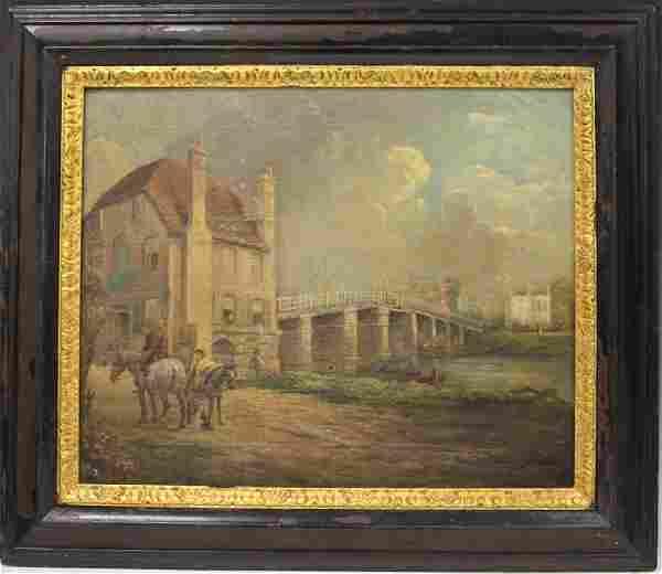 19TH C. ENGLISH OIL ON BOARD, VILLAGE SCENE