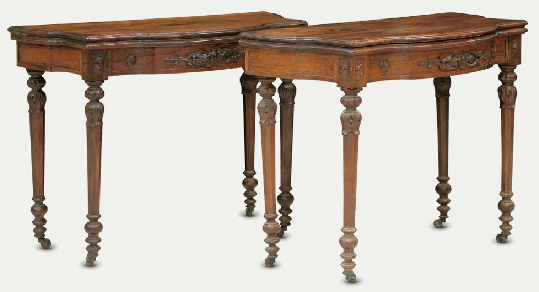 PAIR OF ROSEWOOD GAMES TABLES, NEW YORK MAKER
