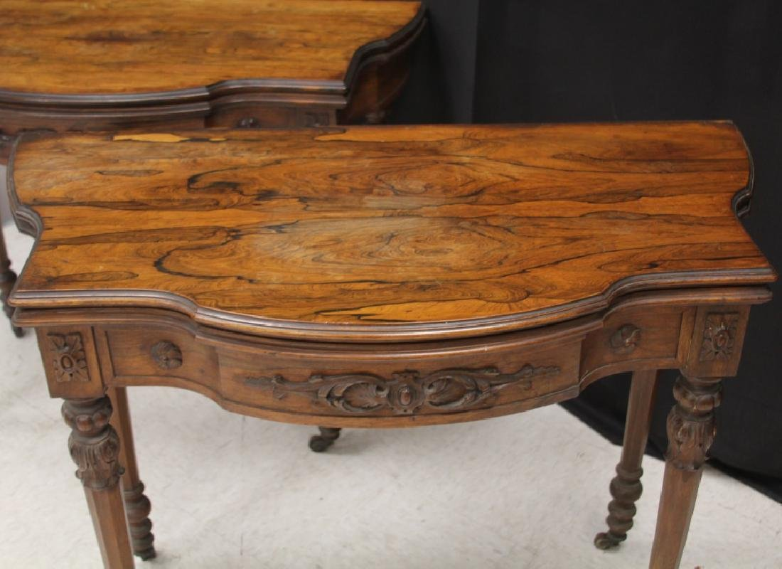 PAIR OF ROSEWOOD GAMES TABLES, NEW YORK MAKER - 4