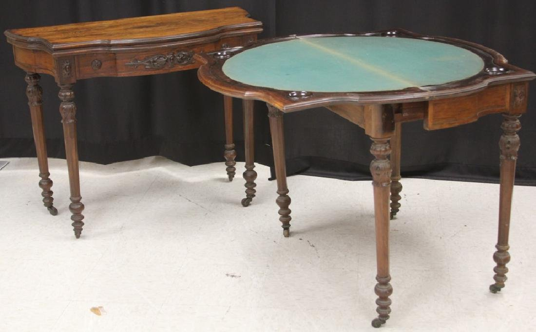 PAIR OF ROSEWOOD GAMES TABLES, NEW YORK MAKER - 6