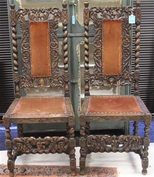 PAIR OF EUROPEAN CARVED CHAIRS