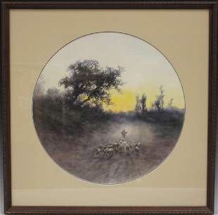 HUGO ANTON FISHER 18541916 WATERCOLOR W SHEEP